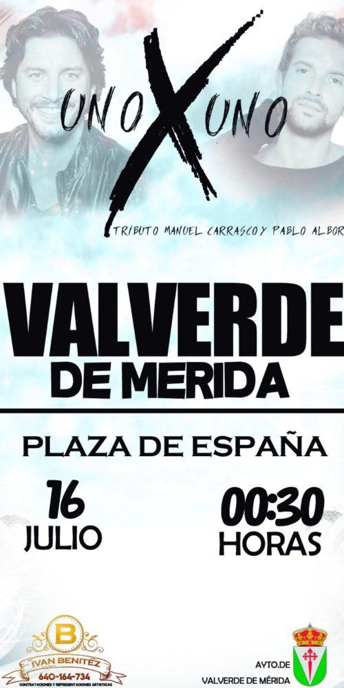uno x uno tributo a Manuel Carrasco y Pablo Alborán en Valverde de Mérida