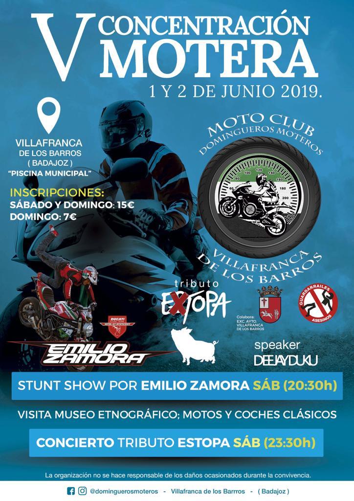 Extopa tributo a Estopa en Villafranca de los Barros V concentración de Motos